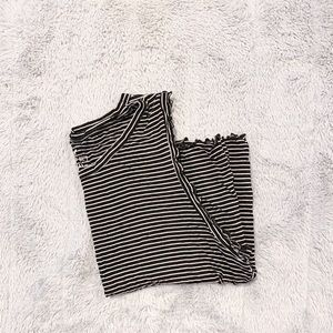 American Eagle black and white stripped tank